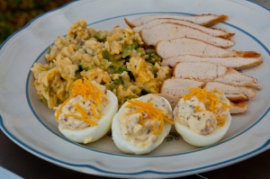 Deviled Eggs and Broccoli Cheese Casserole